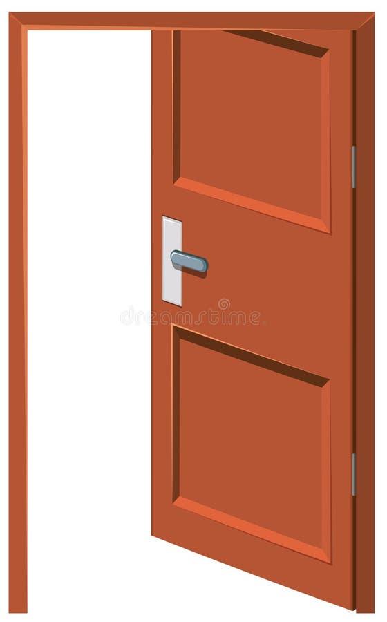 Porta di legno lasciata aperta illustrazione di stock