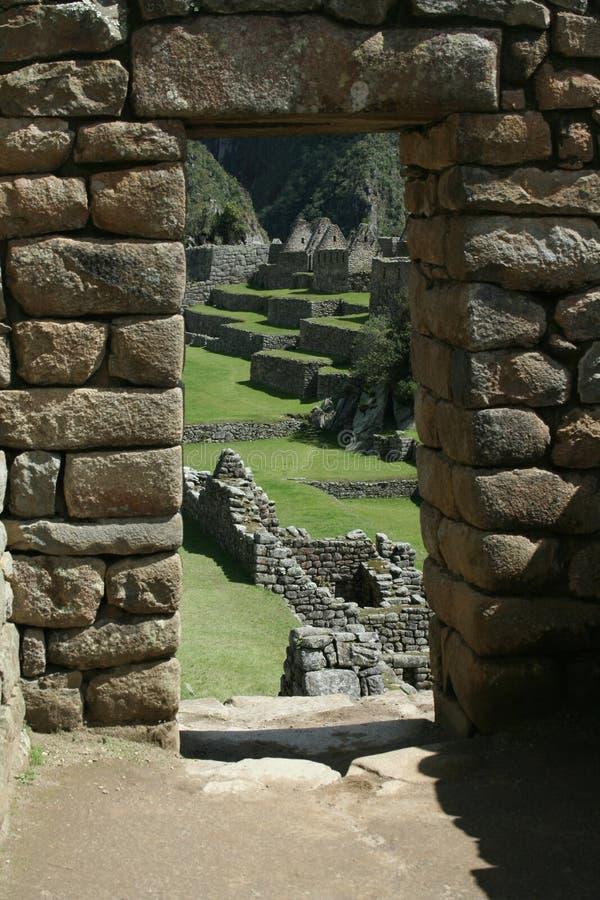 Porta di Machu Picchu fotografie stock libere da diritti