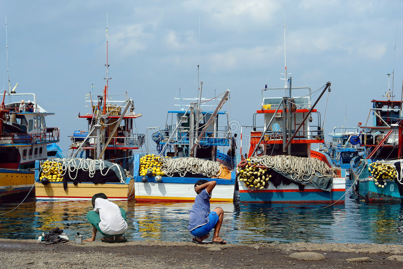 Porta di pesca asiatica industriale. fotografie stock libere da diritti