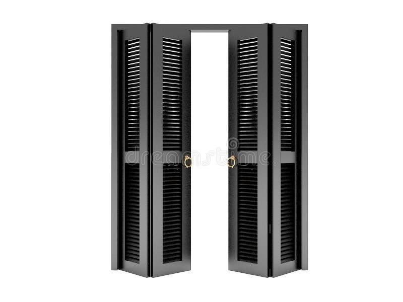 Porta di piegatura nera con la griglia illustrazione vettoriale