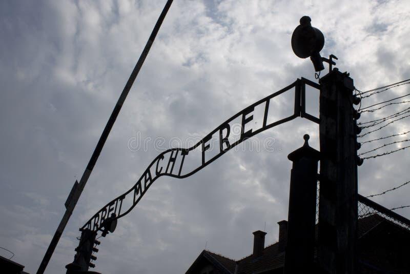 Porta dianteira de Auschwitz imagem de stock