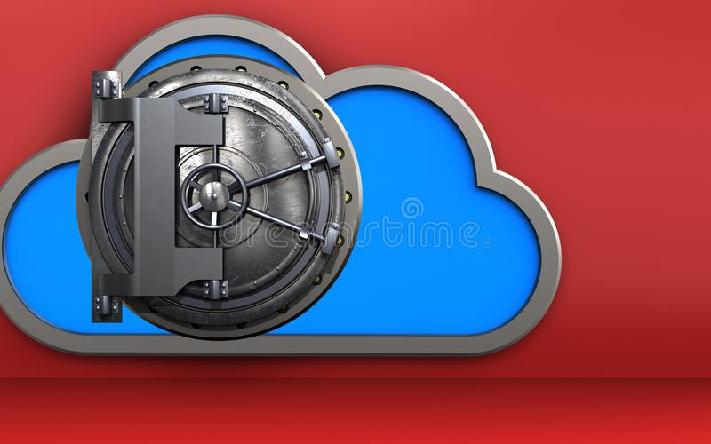 porta do aço da nuvem 3d ilustração do vetor