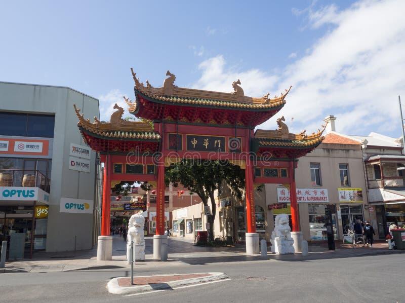A porta do bairro chinês de Adelaide ou do bairro chinês da rua de Moonta, é encontrada na rua de Moonta fotografia de stock