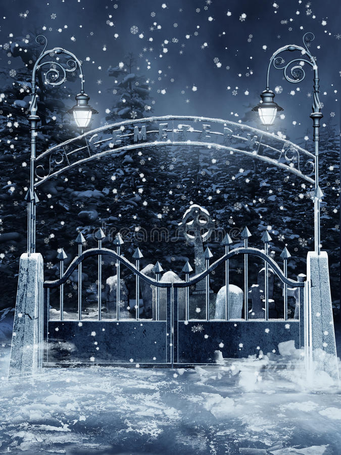 Porta do cemitério com neve ilustração do vetor