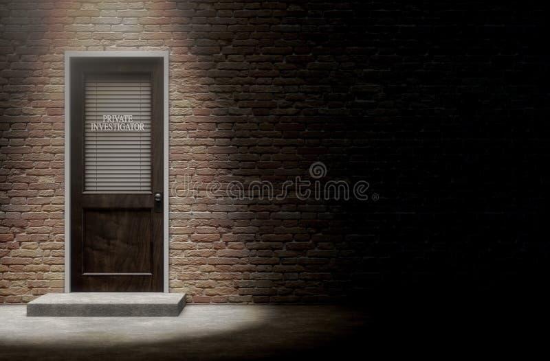 Porta do detetive privado fora ilustração royalty free