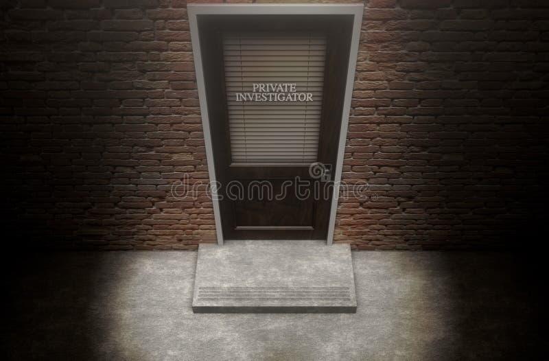 Porta do detetive privado fora ilustração stock