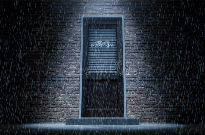 Porta do detetive privado fora da chuva ilustração do vetor