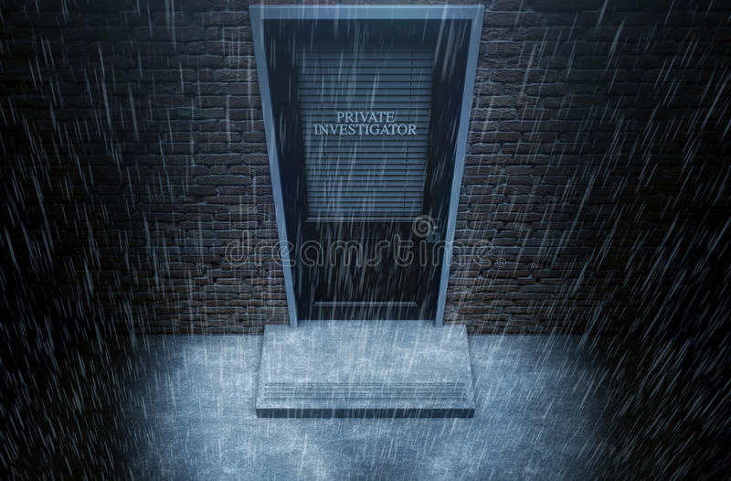 Porta do detetive privado fora da chuva ilustração stock