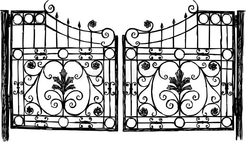 Porta do ferro forjado ilustração royalty free