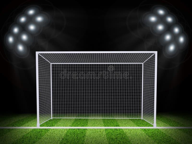 Porta do futebol no meio do campo foto de stock