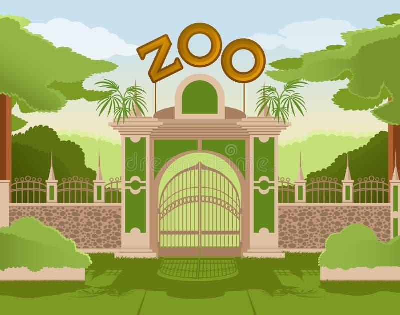 Porta do jardim zoológico ilustração stock