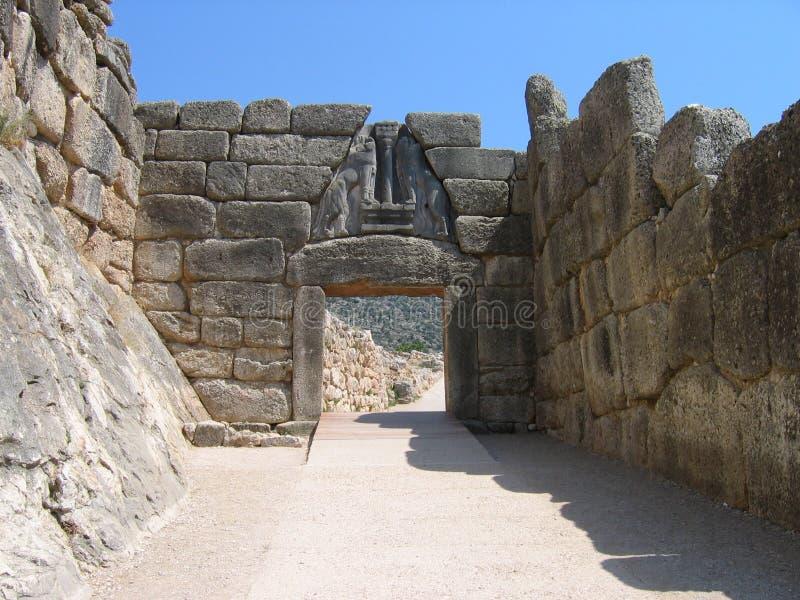 Porta do leão em Mycenae imagem de stock royalty free