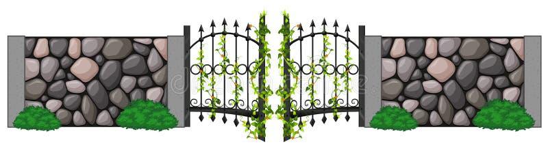 Porta do metal e parede de pedra ilustração stock