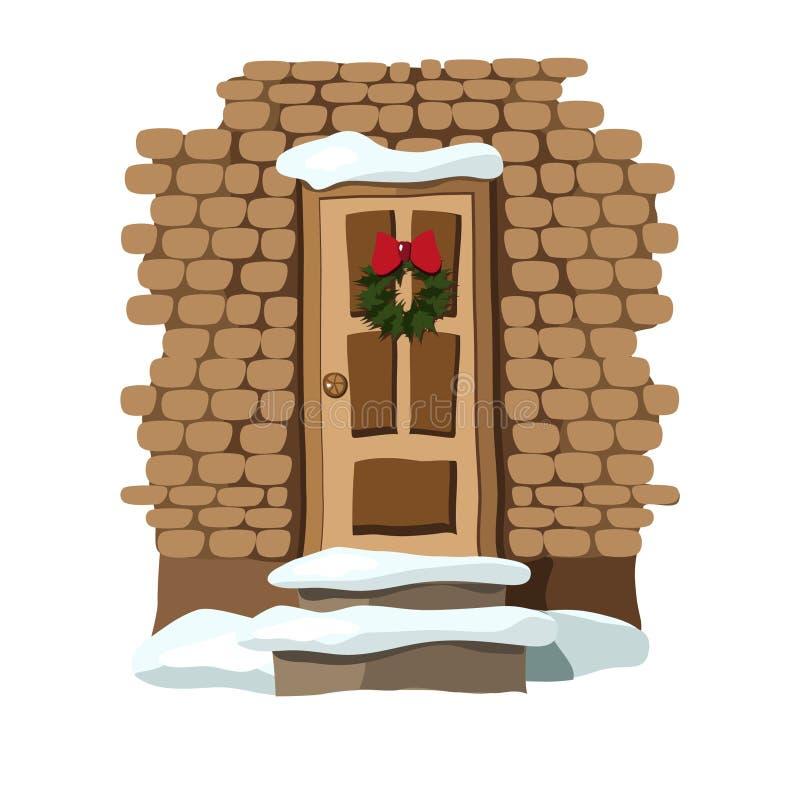 Porta do Natal decorada com grinalda ilustração stock