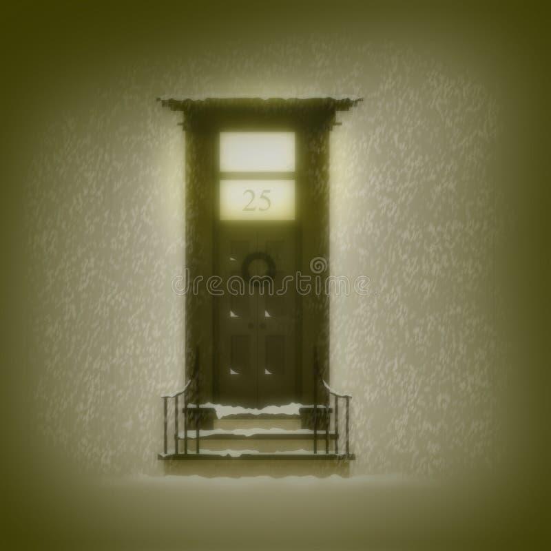 Porta do Natal no número 25 ilustração stock