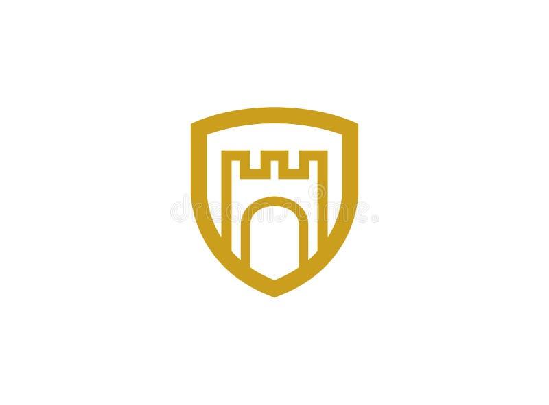 Porta do palácio dentro do protetor para o logotipo ilustração royalty free
