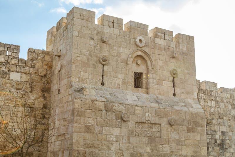 Porta do ` s de Herod, porta das flores no Jerusalém, Israel imagens de stock royalty free