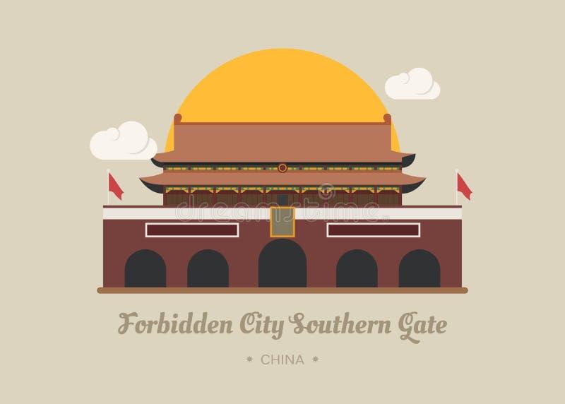 Porta do sul da Cidade Proibida, porcelana ilustração stock
