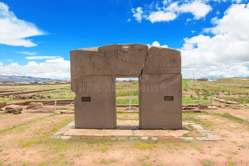 Porta do Sun, ruínas de Tiwanaku, Bolívia imagens de stock royalty free