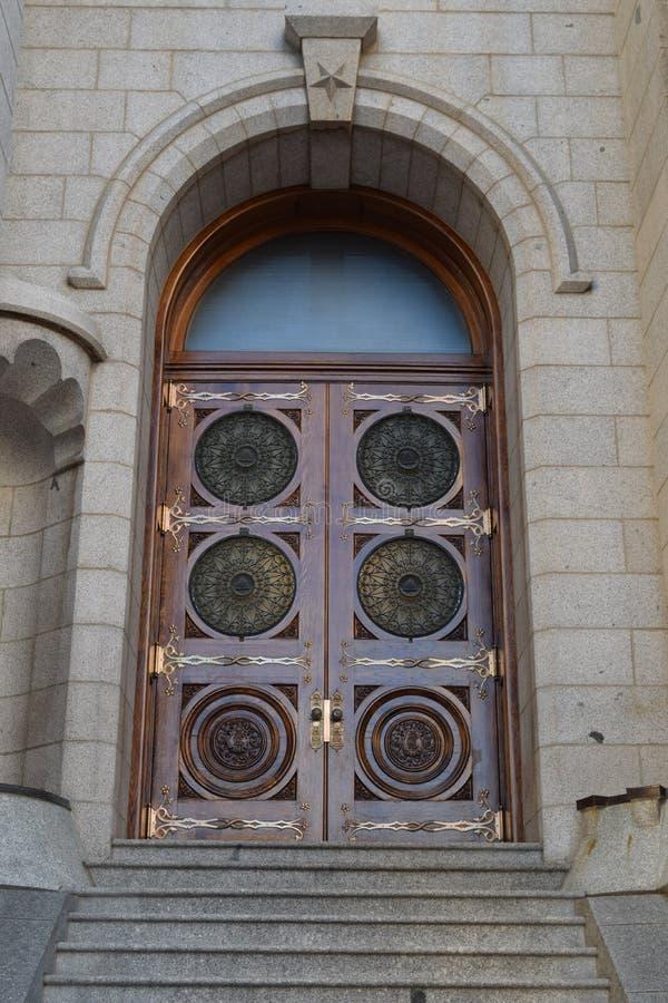 Porta do templo de Salt Lake fotografia de stock