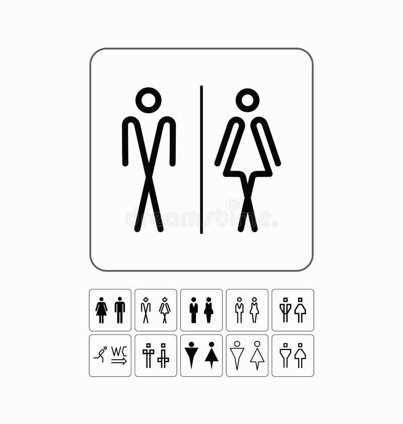 Porta do toalete/placa de parede Ícones originais do WC ajustados ilustração do vetor