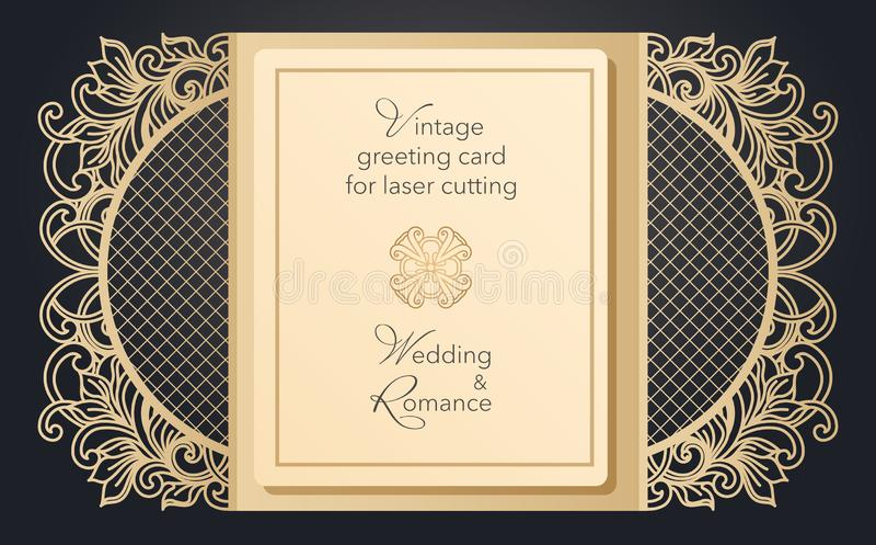 Porta dobrável do cartão para o corte do laser Teste padrão delicado para um casamento, um partido romântico Projeto cinzelado pa ilustração royalty free