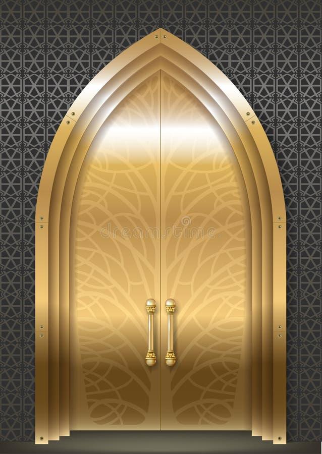 Porta dorata del palazzo royalty illustrazione gratis