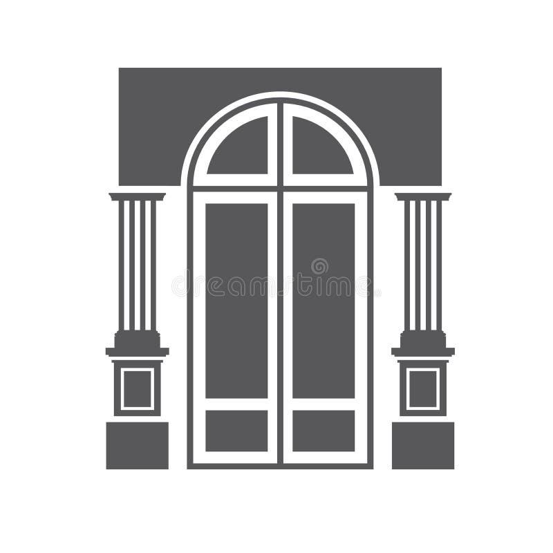 Porta e colunas ilustração do vetor