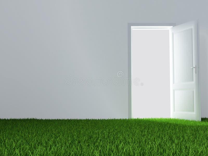 Porta e gramado verde suculento ilustração royalty free