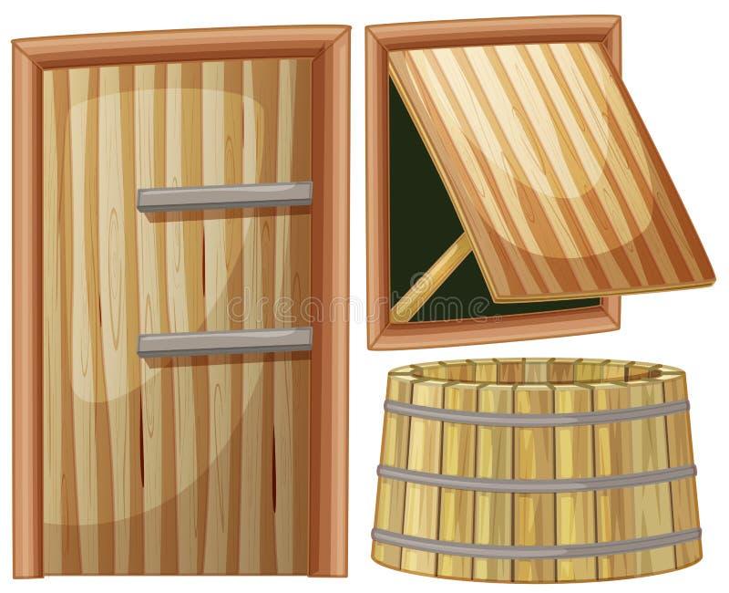 Porta e indicador de madeira ilustração stock