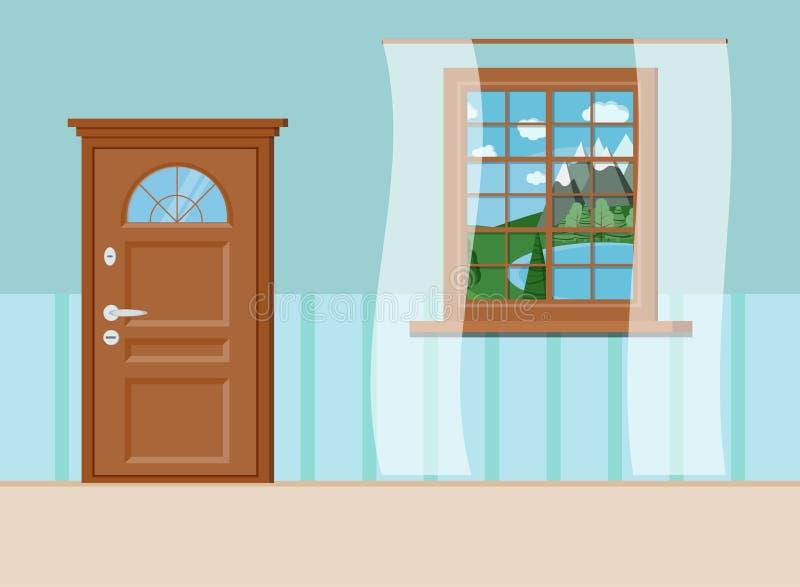 Porta e janela fechados de madeira de entrada com ideia do verão da paisagem do lago ilustração do vetor