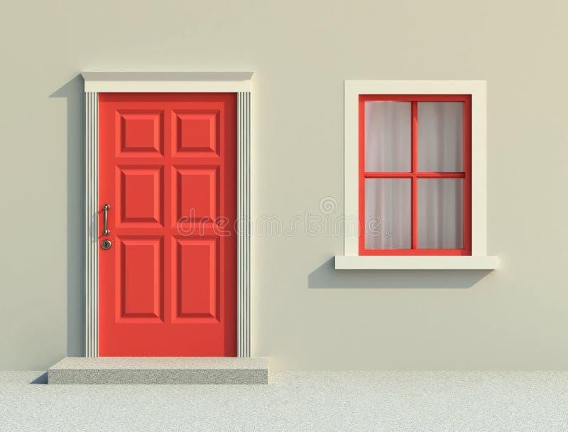 Porta e janela vermelhas dianteiras ilustração royalty free