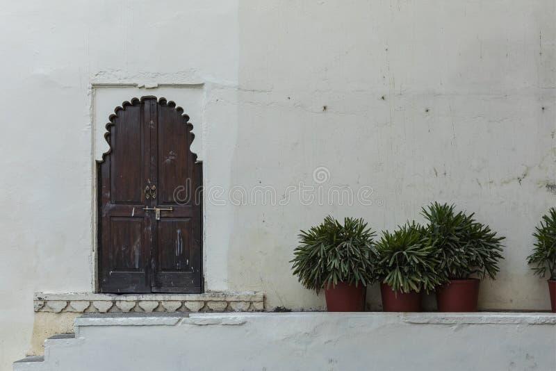 Porta e parede de madeira no palácio da cidade, Udaipur, Rajasthan, Índia imagens de stock