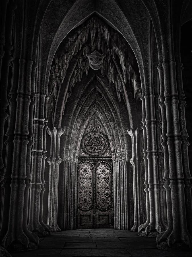 Porta em uma catedral da fantasia ilustração royalty free