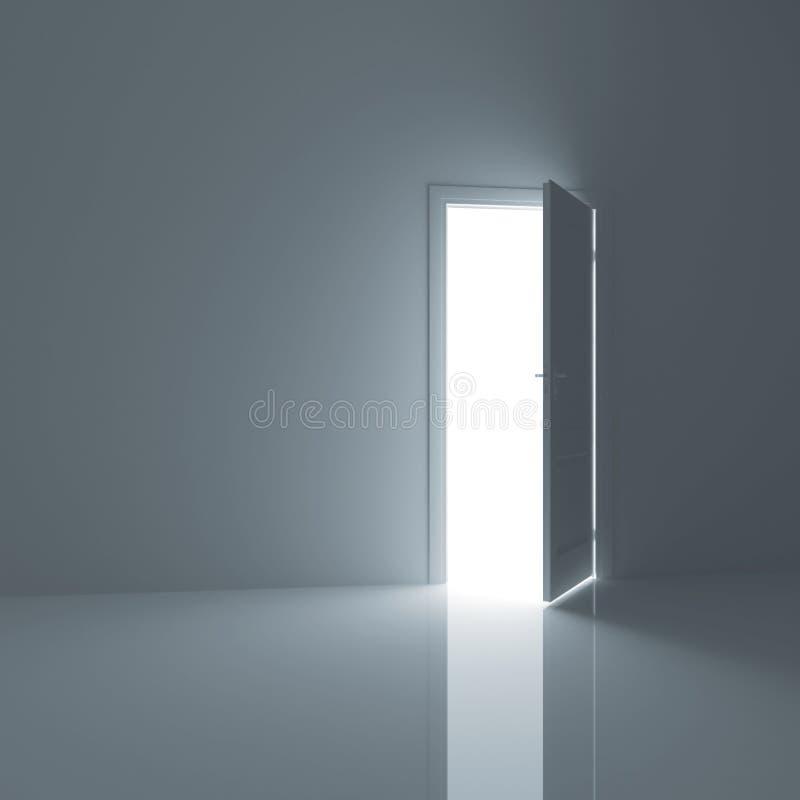 A porta está em um quarto vazio ilustração do vetor