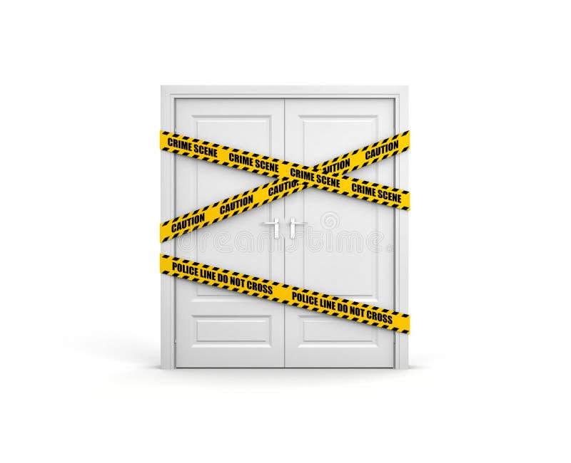 Porta fechado com fita da polícia: a linha de polícia não se cruza ilustração do vetor