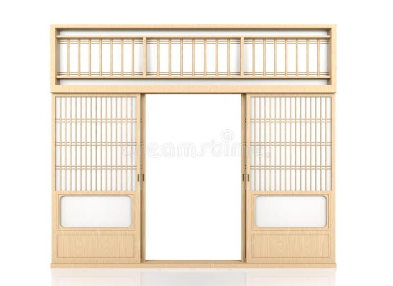 Porta giapponese di legno dello Shoji isolata su fondo bianco royalty illustrazione gratis