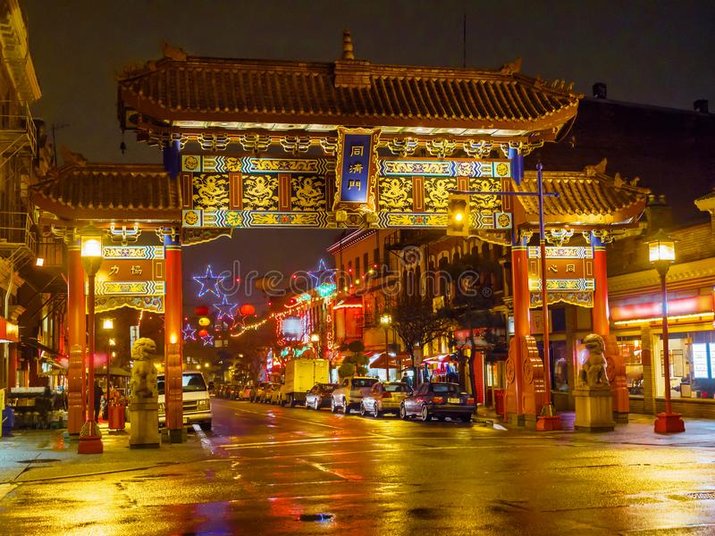 A porta harmoniosa do interesse no bairro chinês, Victoria BC, Vanco imagens de stock royalty free