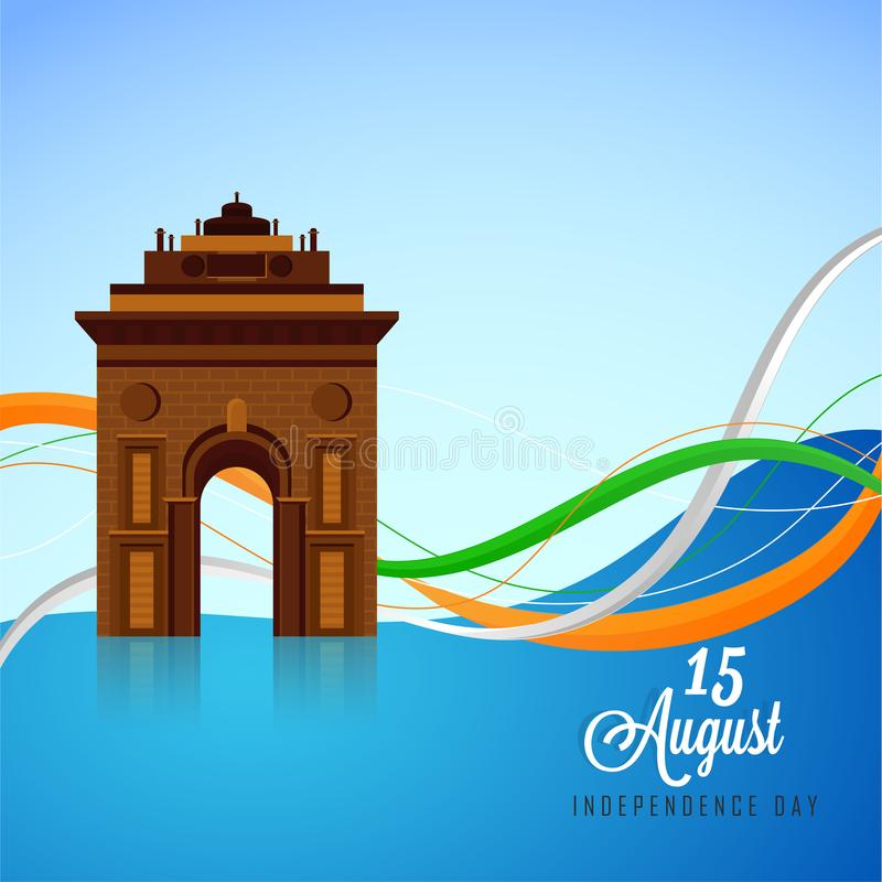 Porta histórica da Índia do monumento no fundo brilhante dos azul-céu para ilustração royalty free