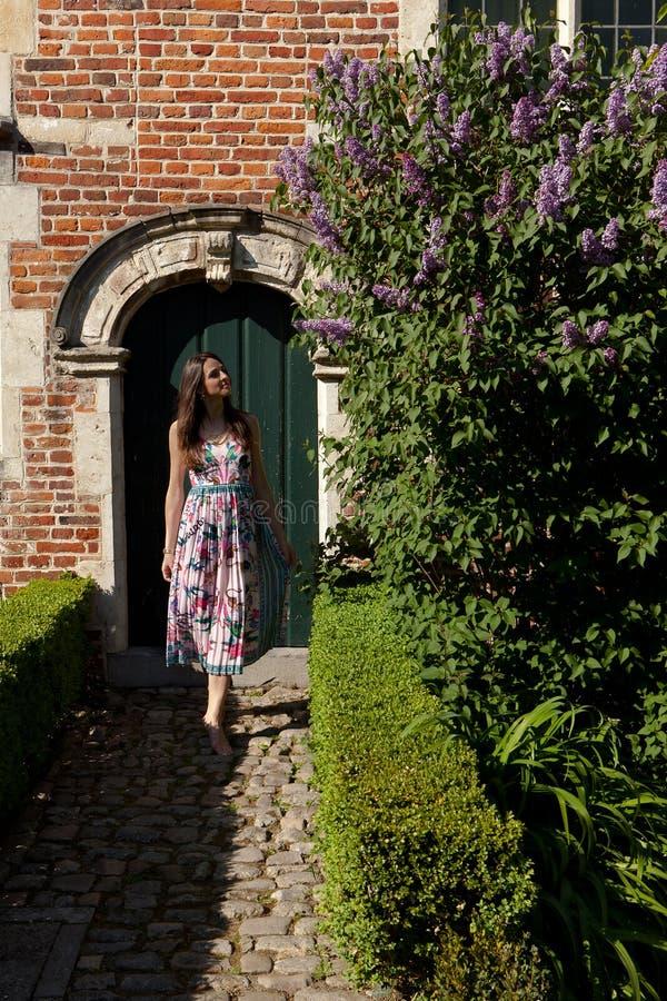 Porta lilla della parete della siringa del sole della ragazza, Groot Begijnhof, Lovanio, Belgio immagini stock