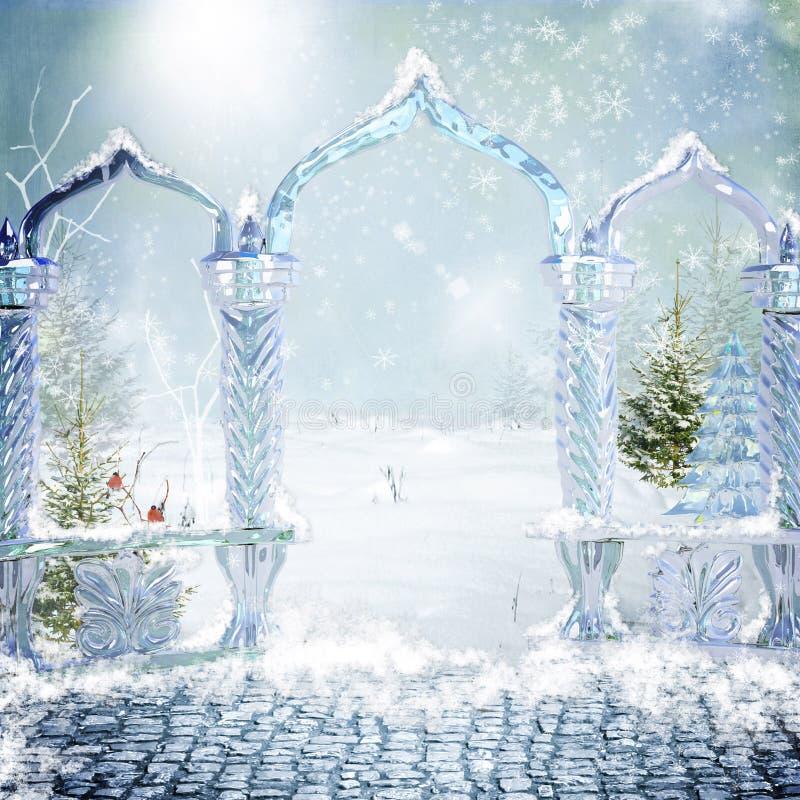 Porta mágica à floresta do inverno ilustração do vetor