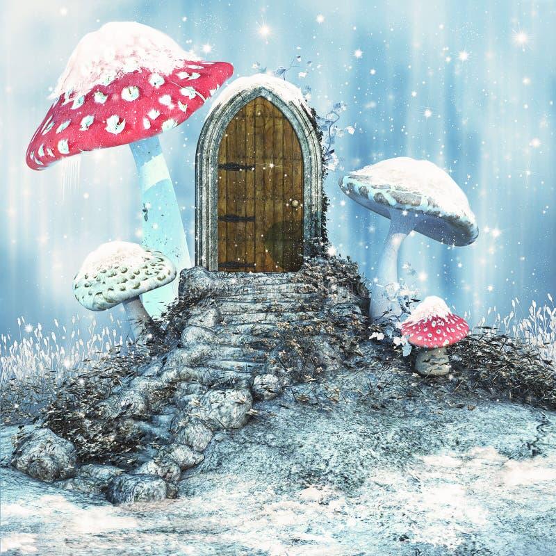 Porta mágica em um prado do inverno ilustração royalty free