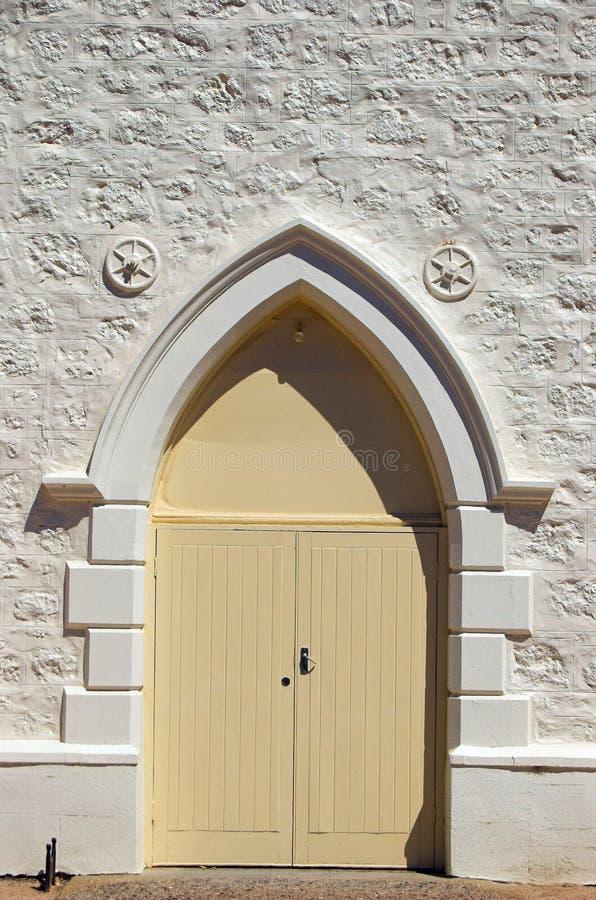 Porta metodista da igreja foto de stock
