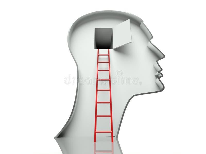 Porta na cabeça e escada, conceito da mente aberta ilustração stock