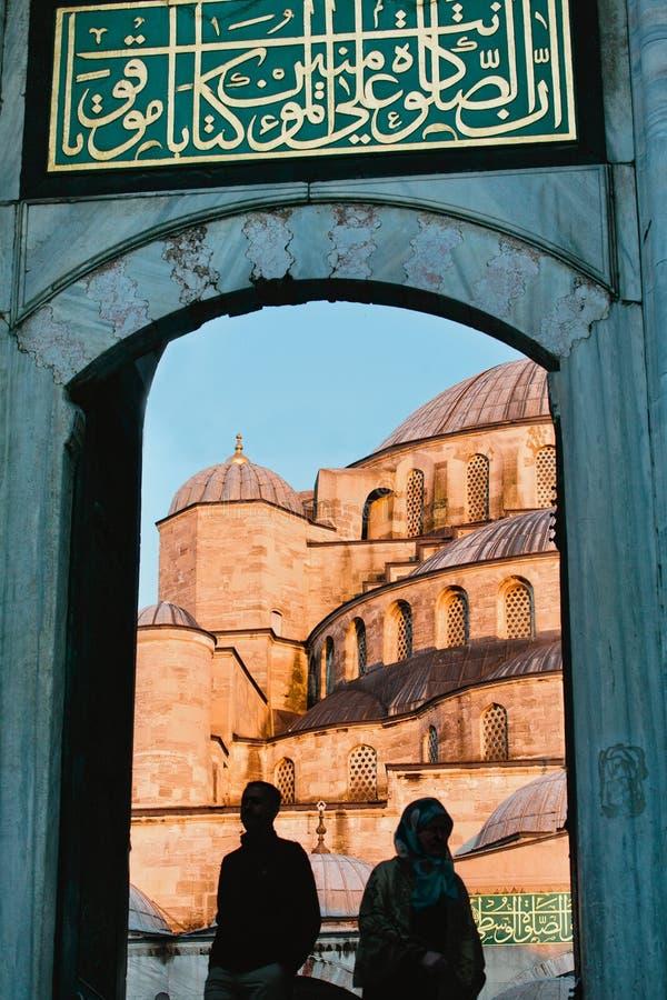 Porta na mesquita azul, Istambul foto de stock