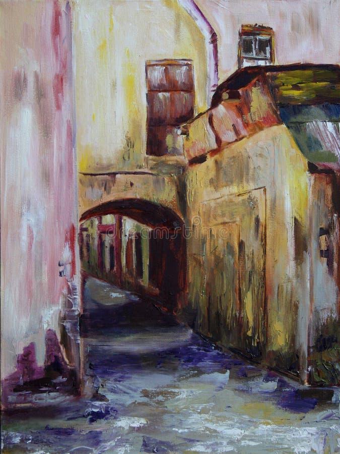 Porta na pintura a óleo da cidade foto de stock royalty free