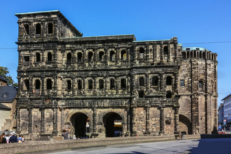 The Porta Nigra, Trier, Germany. The Porta Nigra (black gate) is a large Roman city gate in Trier, Germany royalty free stock images