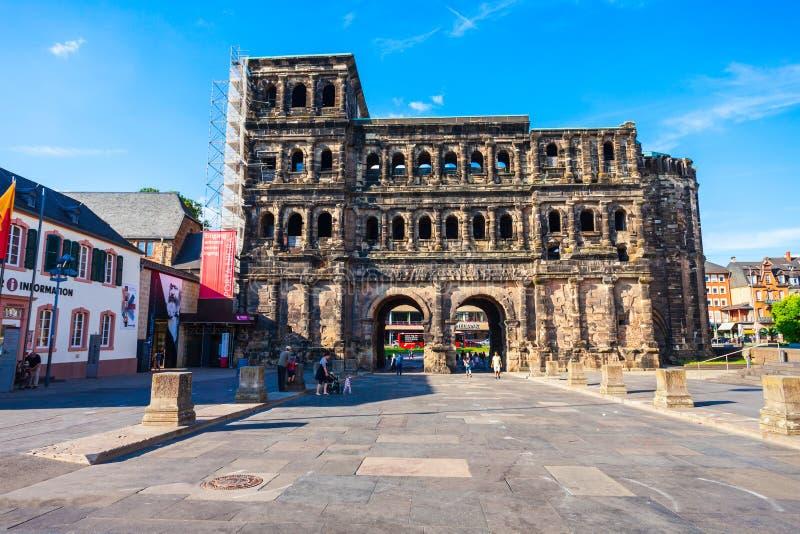 Porta Nigra in Trier, Germany. TRIER, GERMANY - JUNE 28, 2018: Porta Nigra or Black Gate is a large Roman city gate in Trier, Germany royalty free stock image