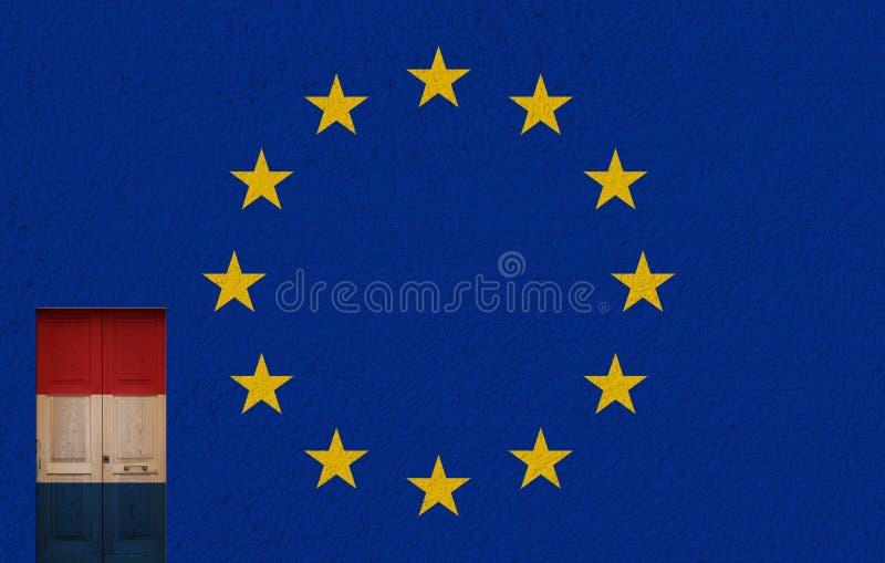 Porta olandese, Unione Europea e 2017 elezioni politiche illustrazione vettoriale