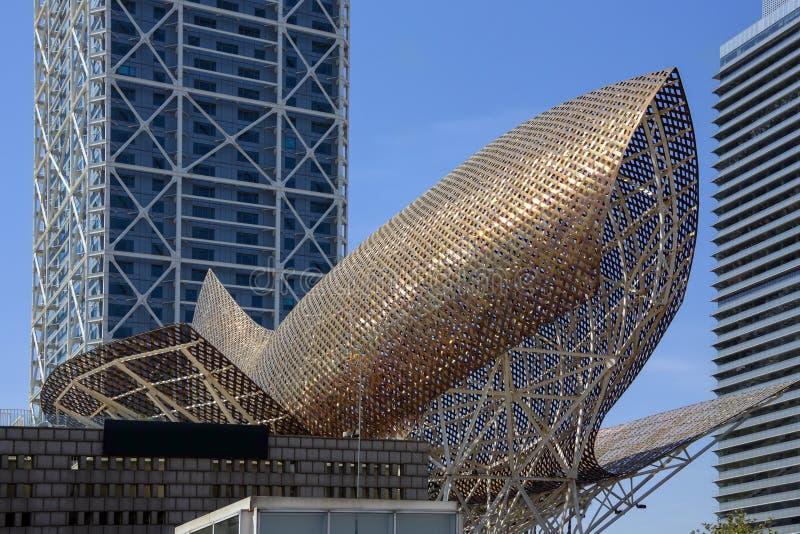 Porta Olimpic - Barcellona - Spagna fotografia stock libera da diritti